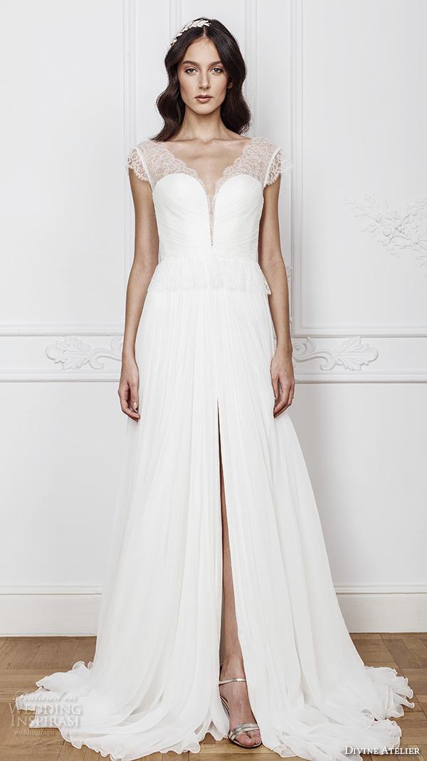 divine atelier 2016 bridal gowns cap sleeves illusion v neck deep plunging sweetheart neckline simple elegant a line wedding dress with middle split v back sweep train (anne) mv
