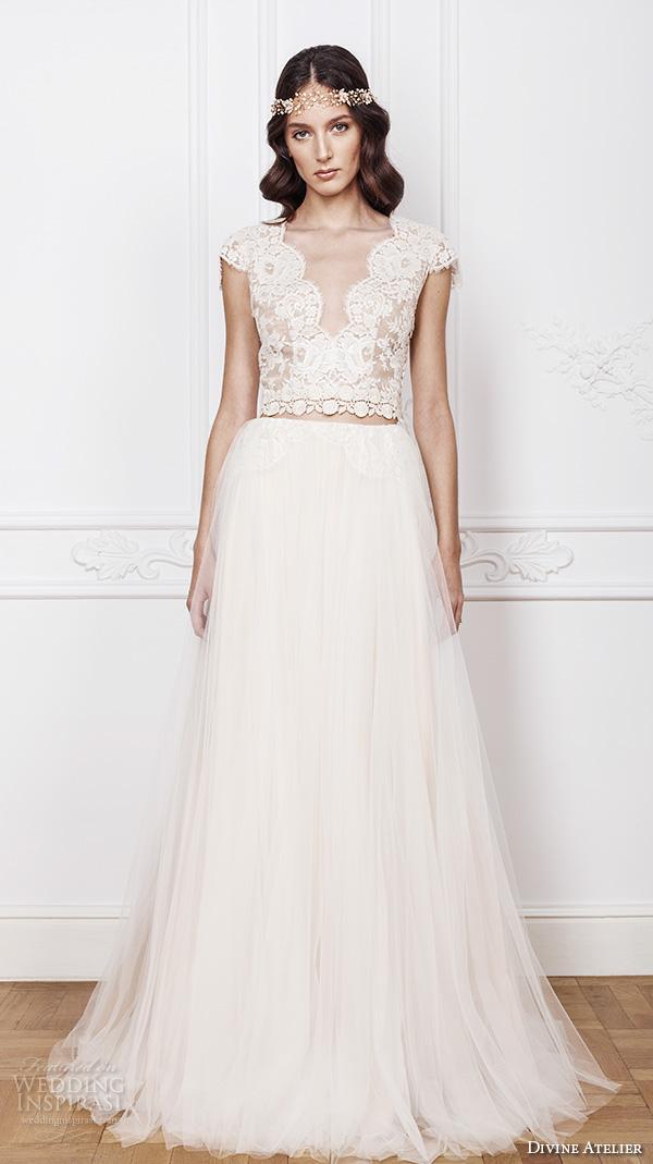 divine atelier 2016 bridal gowns cap sleeves scalloped v neckline lace bodice crop top romantic tulle a line wedding dress open back sweep train (elsa) mv