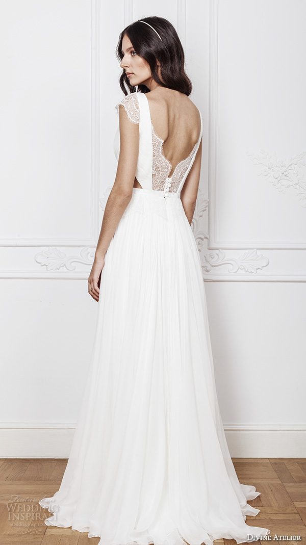 divine atelier 2016 bridal gowns cap sleeves v neckline with insert side cuts romanti a line wedding dress low back brush train (laris) bv