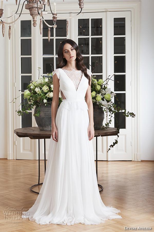 divine atelier 2016 bridal gowns cap sleeves v neckline with insert side cuts romanti a line wedding dress low back brush train (laris) mv