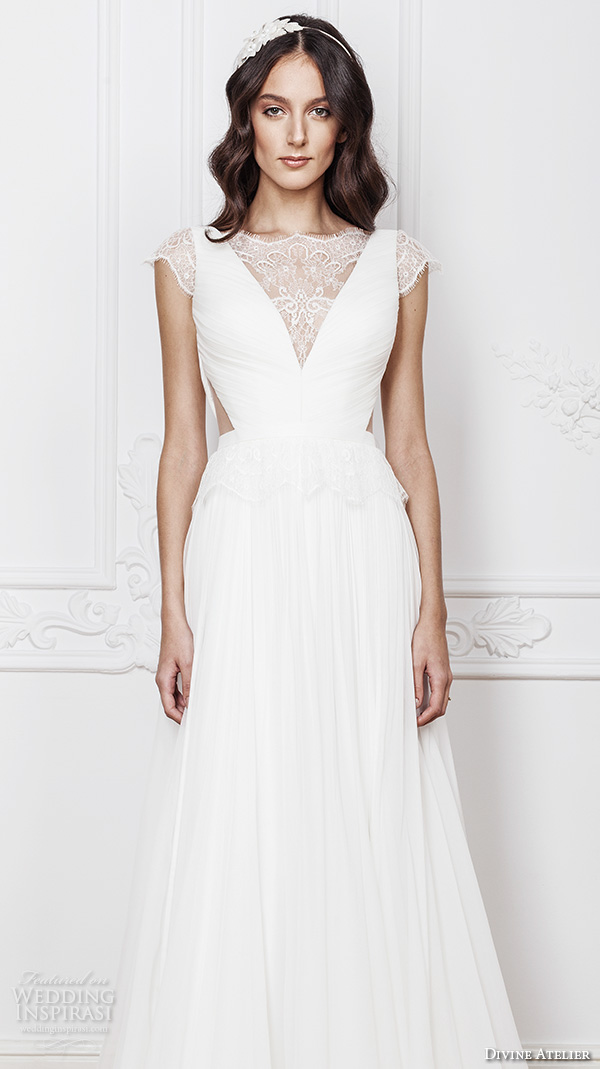813464b48d4c divine atelier 2016 bridal gowns cap sleeves v neckline with insert side  cuts romanti a line