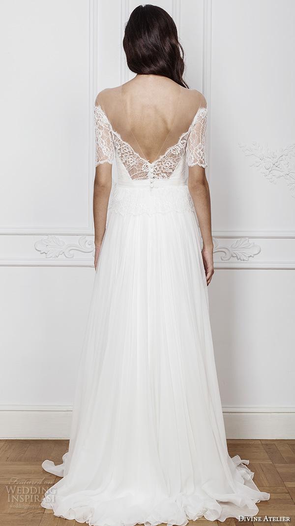 divine atelier 2016 bridal gowns half sleeves illusion off the shoulder sweetheart neckline with slit elegant a line wedding dress open back brush train (ambra) bv