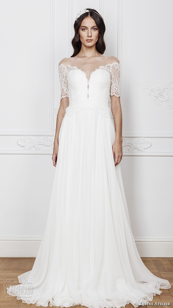 divine atelier 2016 bridal gowns half sleeves illusion off the shoulder sweetheart neckline with slit elegant a line wedding dress open back brush train (ambra) mv