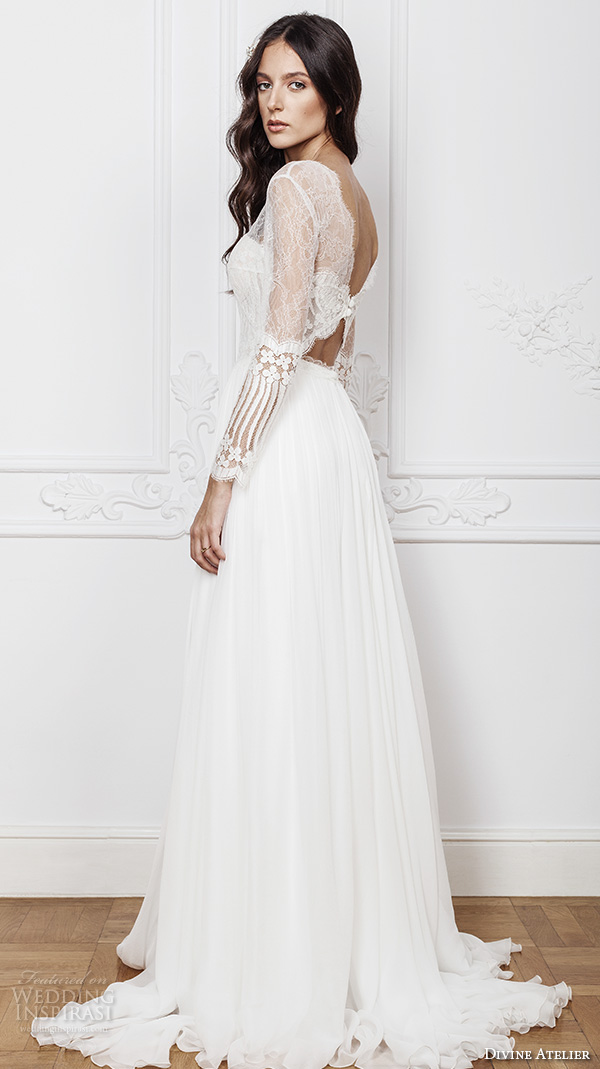 divine atelier 2016 bridal gowns illusion long sleeves sheer bateau sweetheart bustier neckline lace bodice sexy a line wedding dress with split v back sweep train (noel) bv