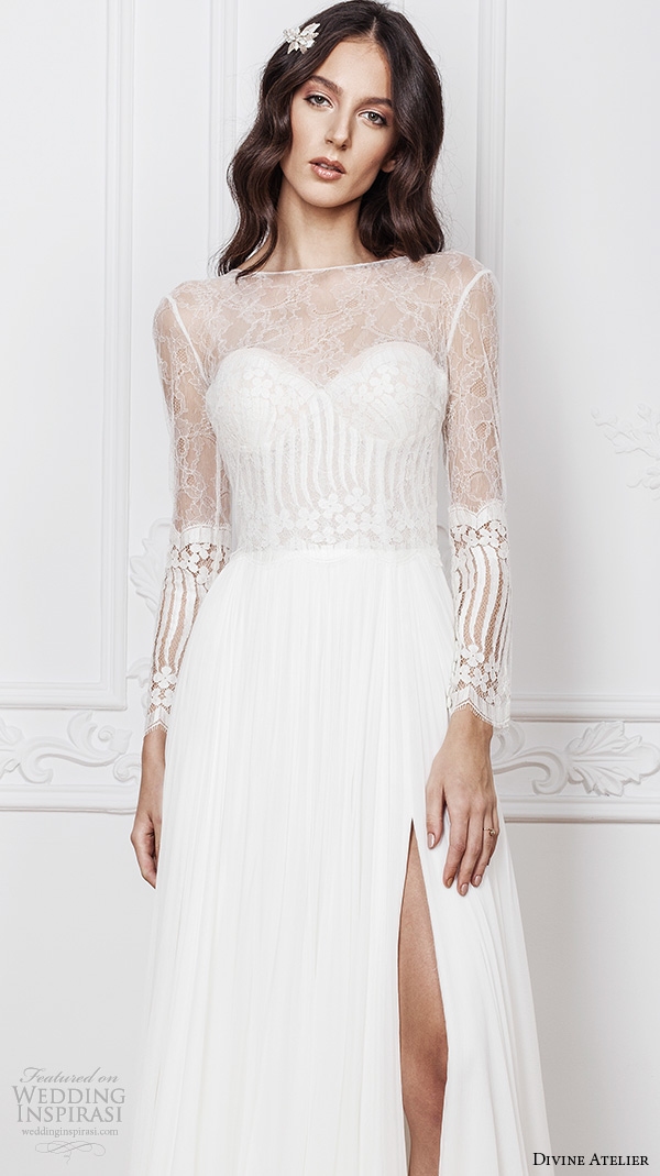 divine atelier 2016 bridal gowns illusion long sleeves sheer bateau sweetheart bustier neckline lace bodice sexy a line wedding dress with split v back sweep train (noel) zv