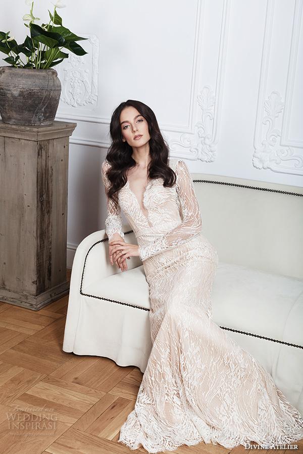 divine atelier 2016 bridal gowns lace sheer long sleeves deep plunging v neck fully embellished vintage lace sheath wedding dress open back detachable panel train (calia) mv