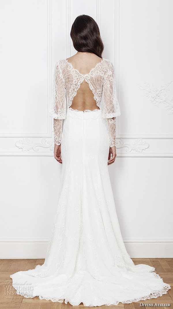 divine atelier 2016 bridal gowns long bishop sleeves v neck button lace top vintage bohemian modified a line wedding dress keyhole back sweep train (kendra) bv