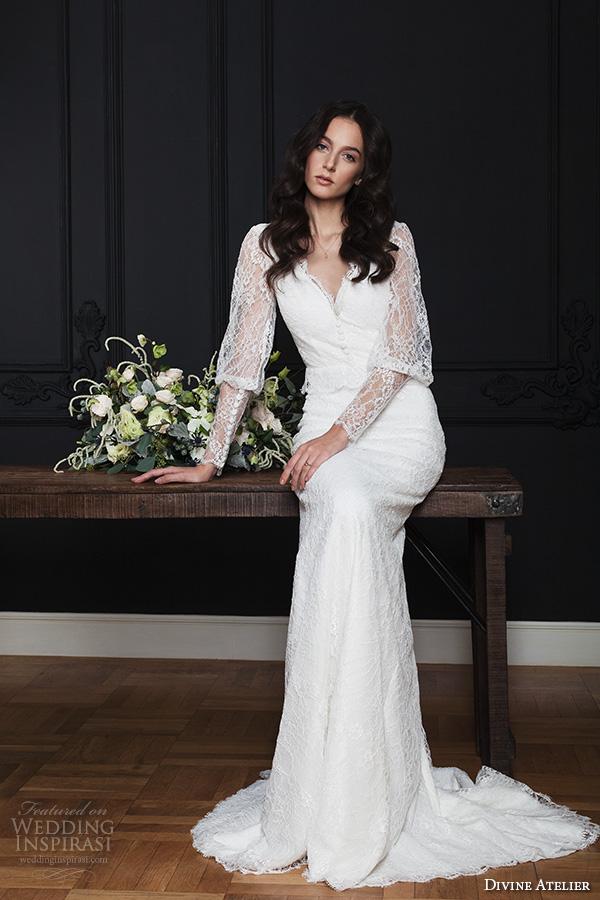 divine atelier 2016 bridal gowns long bishop sleeves v neck button lace top vintage bohemian modified a line wedding dress keyhole back sweep train (kendra) mv