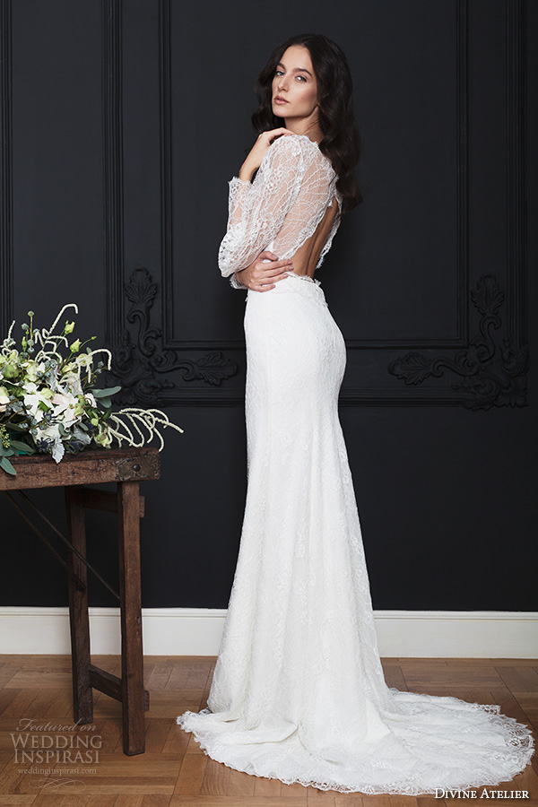 divine atelier 2016 bridal gowns long bishop sleeves v neck button lace top vintage bohemian modified a line wedding dress keyhole back sweep train (kendra) sv