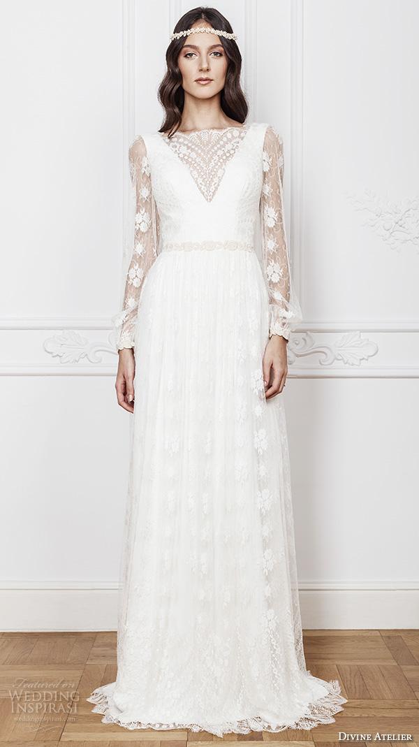 divine atelier 2016 bridal gowns long sleeves illusion boat v neckline romantic bohemian lace a line wedding dress low v back brush train (asia) mv