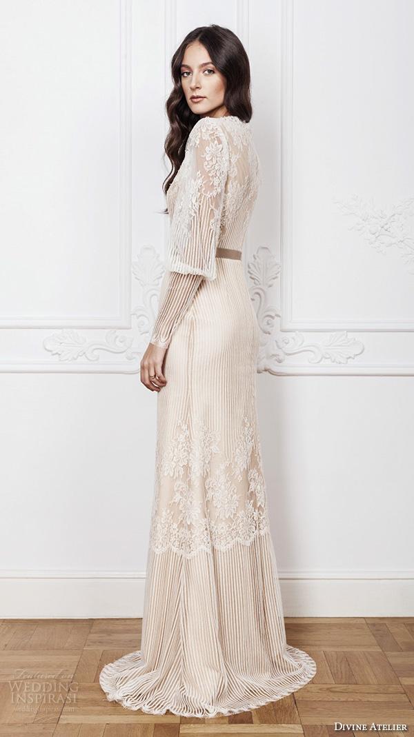 divine atelier 2016 bridal gowns scalloped boat neckline long bishop sleeves fully embellished vintage lace sheath wedding dress illusion back brush train (alissa) bv