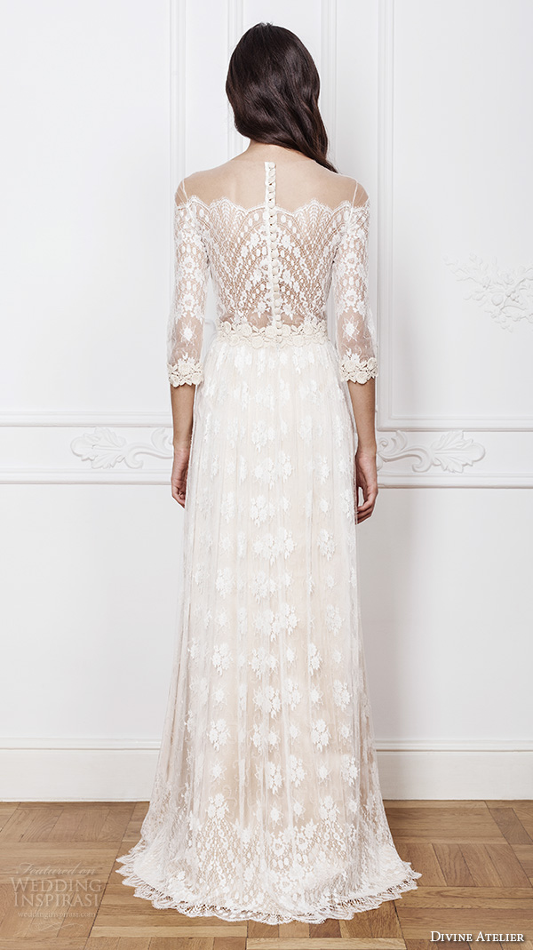 divine atelier 2016 bridal gowns scalloped sheer off the shoulder plunging sweetheart neckline 3 quarter sleeves fully embellished bohemian lace sheath wedding dress sheer back (aimee) bv