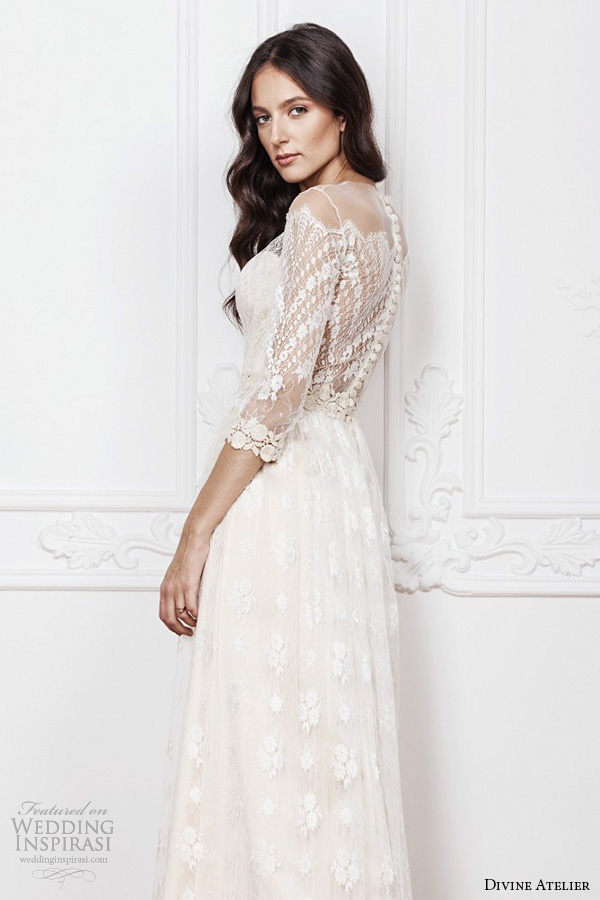 divine atelier 2016 bridal gowns scalloped sheer off the shoulder plunging sweetheart neckline 3 quarter sleeves fully embellished bohemian lace sheath wedding dress sheer back (aimee) sv