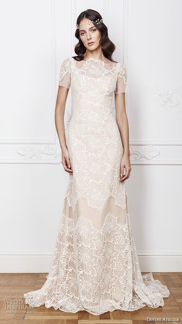 divine atelier 2016 bridal gowns sheer jewel scoop neckline short sleeves romantic vintage fully embellished lace sheath detachable a line overskirt wedding dress sheer back (clara) mv