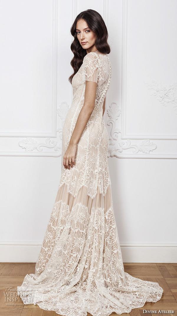 divine atelier 2016 bridal gowns sheer jewel scoop neckline short sleeves romantic vintage fully embellished lace sheath detachable a line overskirt wedding dress sheer back (clara) sv
