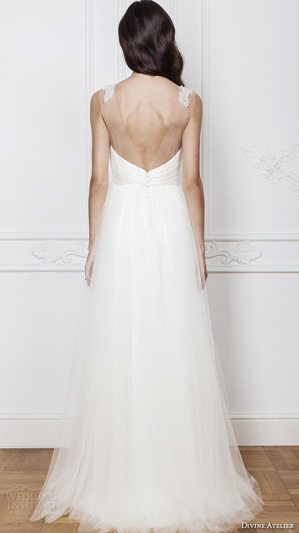divine atelier 2016 bridal gowns sleeveless illusion bateau straight across neckline beaded bodice a line wedding dress with split v back (enya) bv