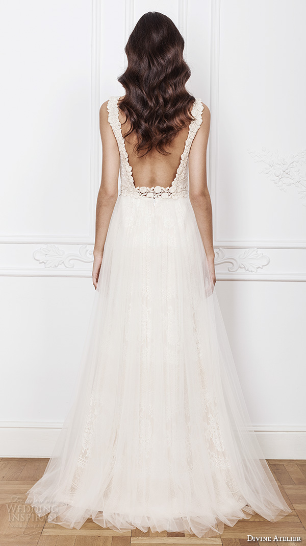 divine atelier 2016 bridal gowns sleeveless scalloped illusion boat v neckline lace bodice romantic vintage tulle a line wedding dress low back brush train (mara) bv
