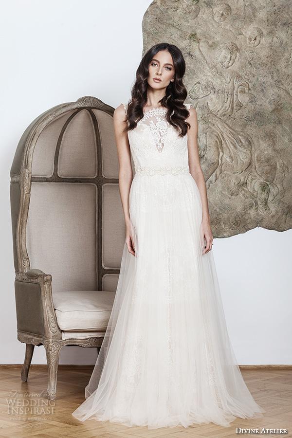 divine atelier 2016 bridal gowns sleeveless scalloped illusion boat v neckline lace bodice romantic vintage tulle a line wedding dress low back brush train (mara) mv