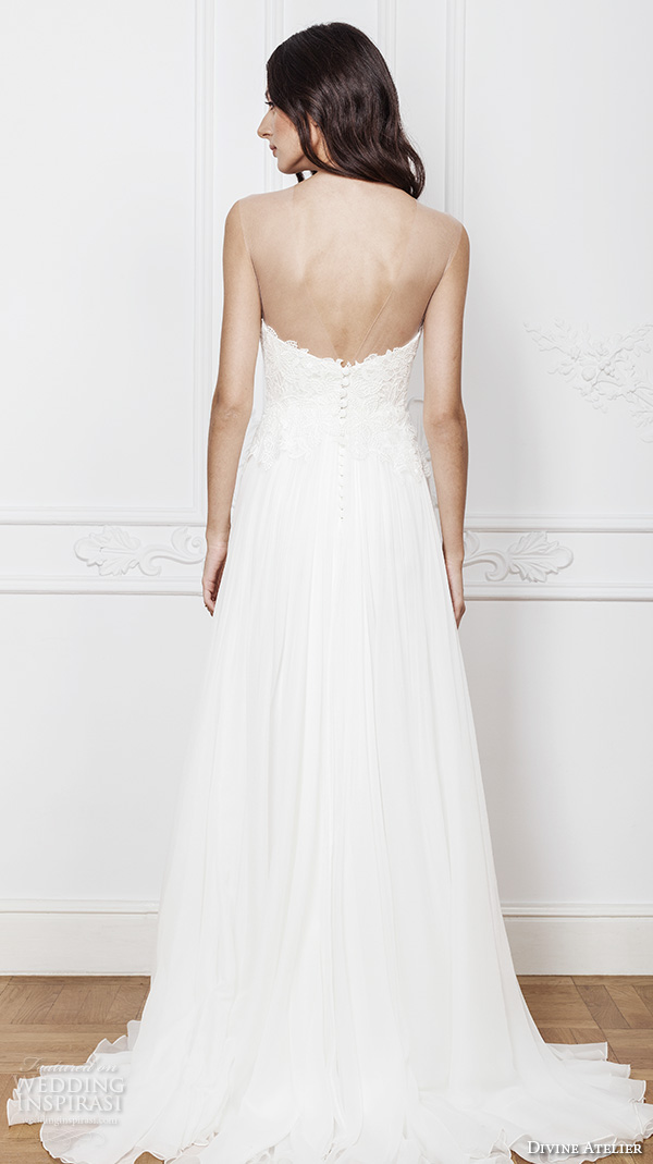 divine atelier 2016 bridal gowns strapless straight across neckline with slit lace bodice sexy romantic a line wedding dress with middle split sweep train (karen) bv