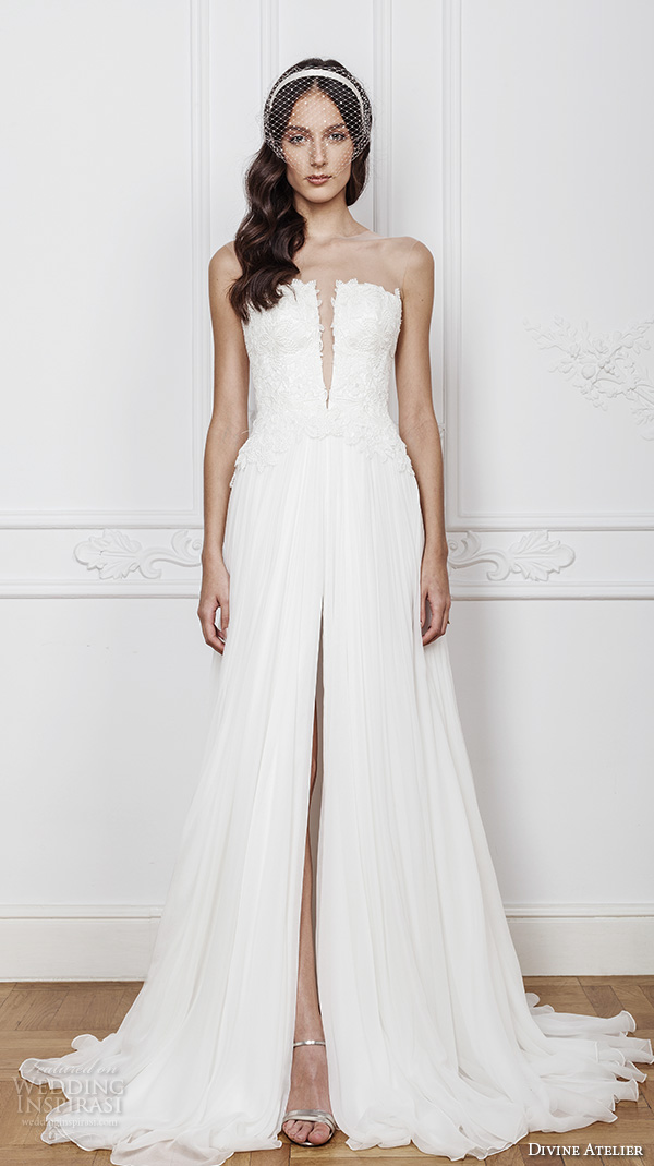 divine atelier 2016 bridal gowns strapless straight across neckline with slit lace bodice sexy romantic a line wedding dress with middle split sweep train (karen) mv