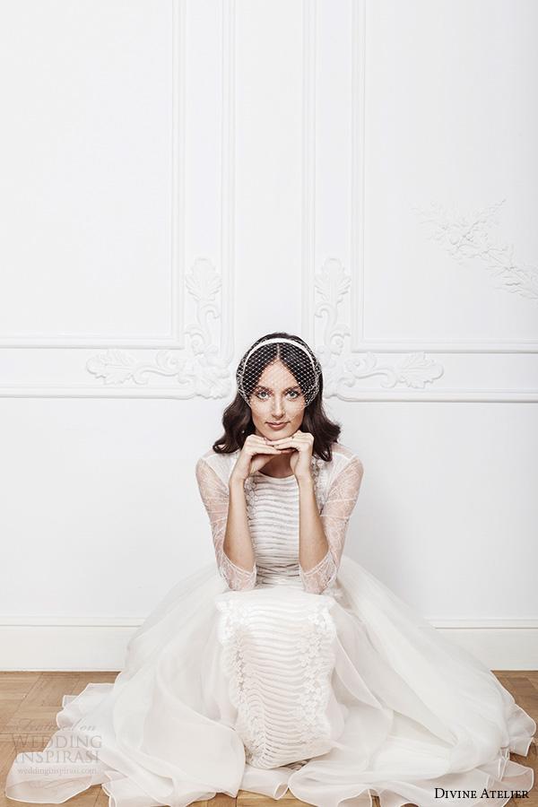 divine atelier 2016 bridal gowns three quarter jewel neckline modern bohemian a line ball gown wedding dress keyhole back sweep train (azira)