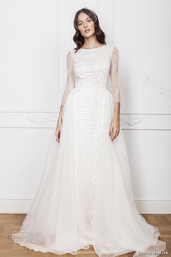 divine atelier 2016 bridal gowns three quarter jewel neckline modern bohemian a line ball gown wedding dress keyhole back sweep train (azira) mv