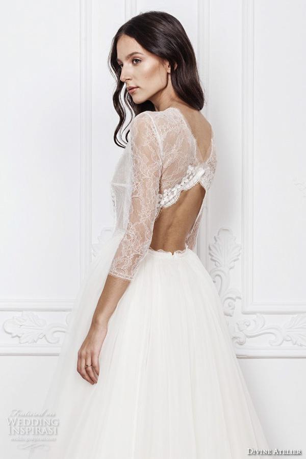 divine atelier 2016 bridal gowns three quarter jewel neckline modern bohemian a line ball gown wedding dress keyhole back sweep train (azira) sv