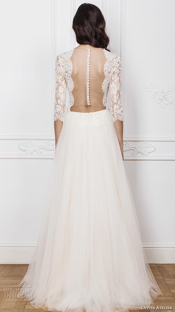 divine atelier 2016 bridal gowns three quarter sleeves bateau neckline lace crop top bohemian a line wedding dress illusion back sweep train (lima) bv