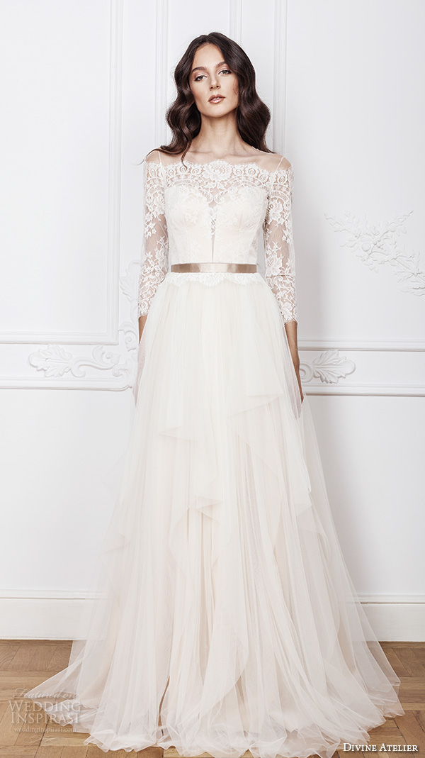 divine atelier 2016 bridal gowns three quarter sleeves illusion boat plunging sweetheart neckline lace bodice romantic a line wedding dress illusion back sweep train (ramia) mv