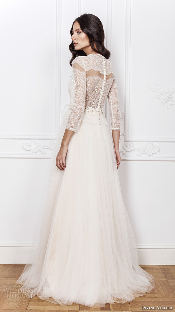 divine atelier 2016 bridal gowns three quarter sleeves illusion jewel deep plunging sweetheart neckline lace bodice romantic tulle a line wedding dress sheer back sweep train (sarah) bv