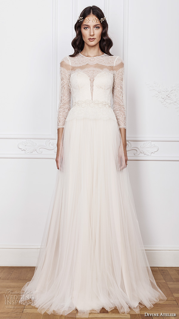divine atelier 2016 bridal gowns three quarter sleeves illusion jewel deep plunging sweetheart neckline lace bodice romantic tulle a line wedding dress sheer back sweep train (sarah) mv