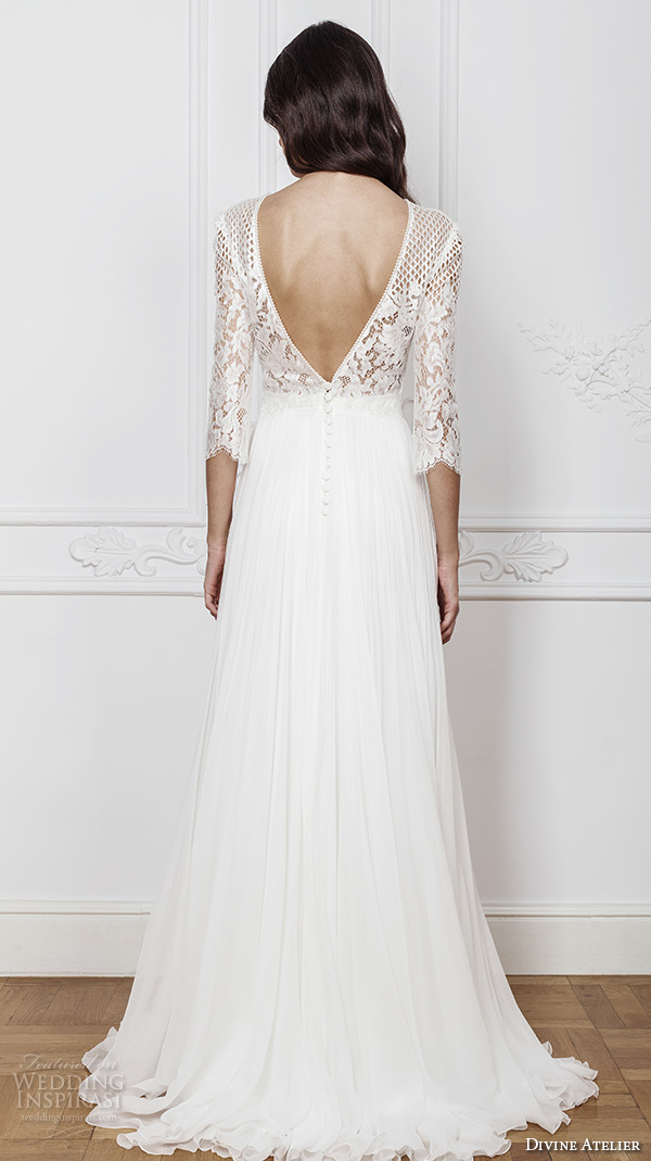 7fa5aa6ccb68 divine atelier 2016 bridal gowns three quarter sleeves illusion jewel  straight across neckline embellished bodice modern