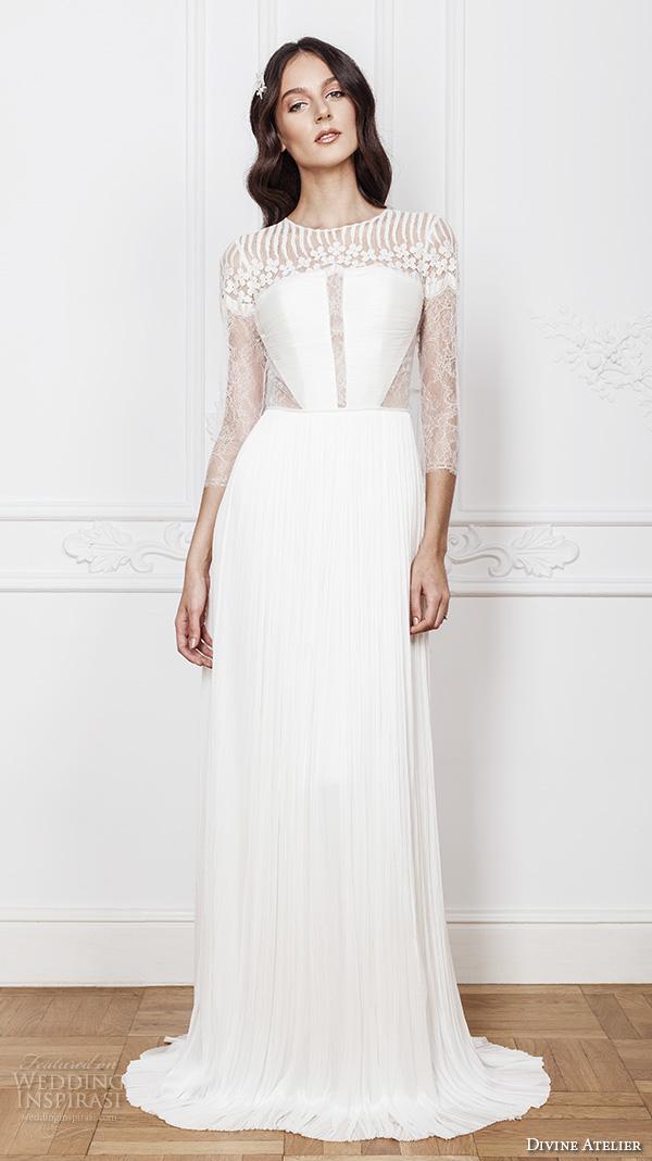 divine atelier 2016 bridal gowns three quarter sleeves illusion jewel straight across neckline with middle slit side cut out elegant sheath wedding dress sheer back brush train (denise) mv