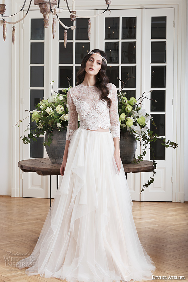 divine atelier 2016 bridal gowns three quarter sleeves illusion jewel sweetheart neckline lace crop top bohemian  tulle a line wedding dress illusion back brush train (ema) mv