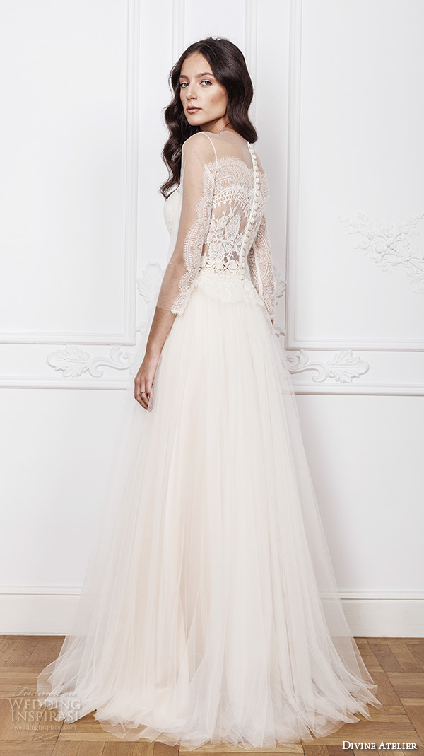 divine atelier 2016 bridal gowns three quarter sleeves sheer jewel plunging sweetheart neckline lace bodice tulle romantic bohemian tulle a line wedding dress sheer back sweep train (sasha) bv