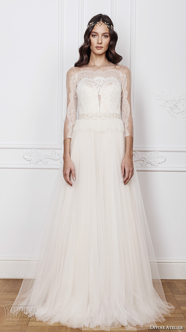 divine atelier 2016 bridal gowns three quarter sleeves sheer jewel plunging sweetheart neckline lace bodice tulle romantic bohemian tulle a line wedding dress sheer back sweep train (sasha) mv