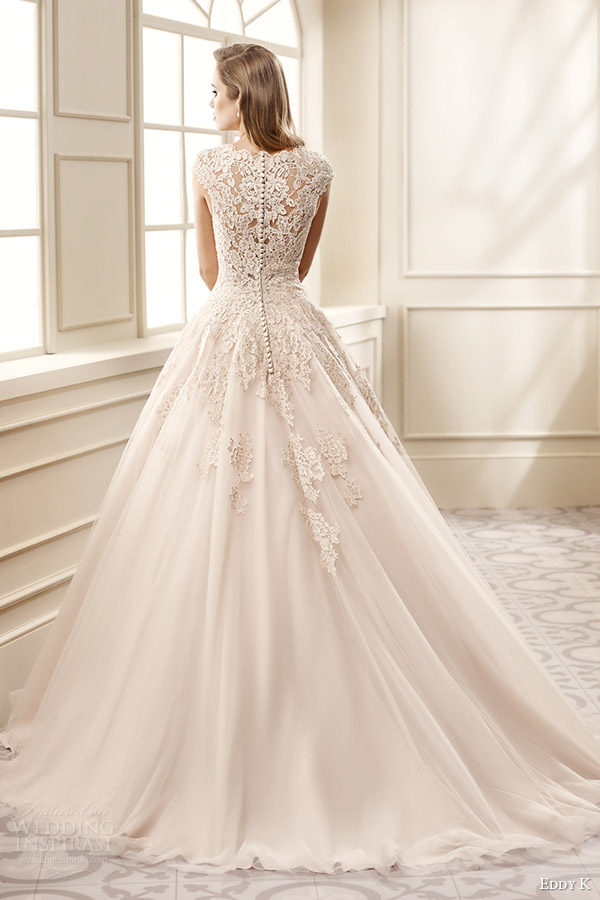 eddy k bridal 2016 cap sleeves sweetheart a line wedding dress (ek1065) bv medium train lace back champagne color romantic