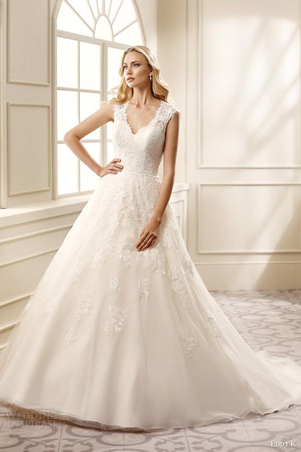 eddy k bridal 2016 cap sleeves thick straps lace bodice a line wedding dress (ek1069) mv romantic