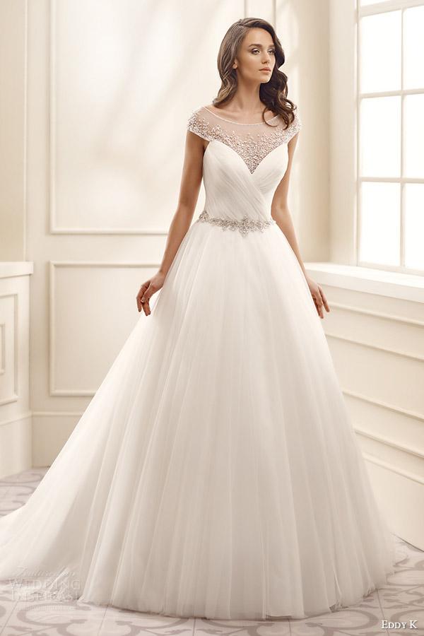 eddy k bridal 2016 illusion cap sleeves sweetheart surplice bodice ball gown wedding dress (ek1075) mv romantic