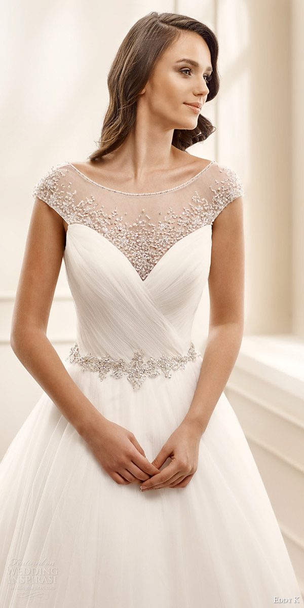 eddy k bridal 2016 illusion cap sleeves sweetheart surplice bodice ball gown wedding dress (ek1075) zvromantic