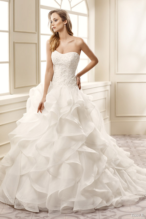 f17741a3a2d7 eddy k bridal 2016 strapless semi sweetheart lace bodice ruffle skirt a  line wedding dress (