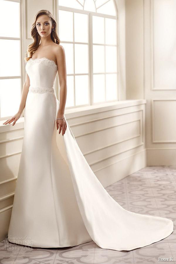 eddy k bridal 2016 strapless semi sweetheart trumpet wedding dress (ek1076) mv panel train