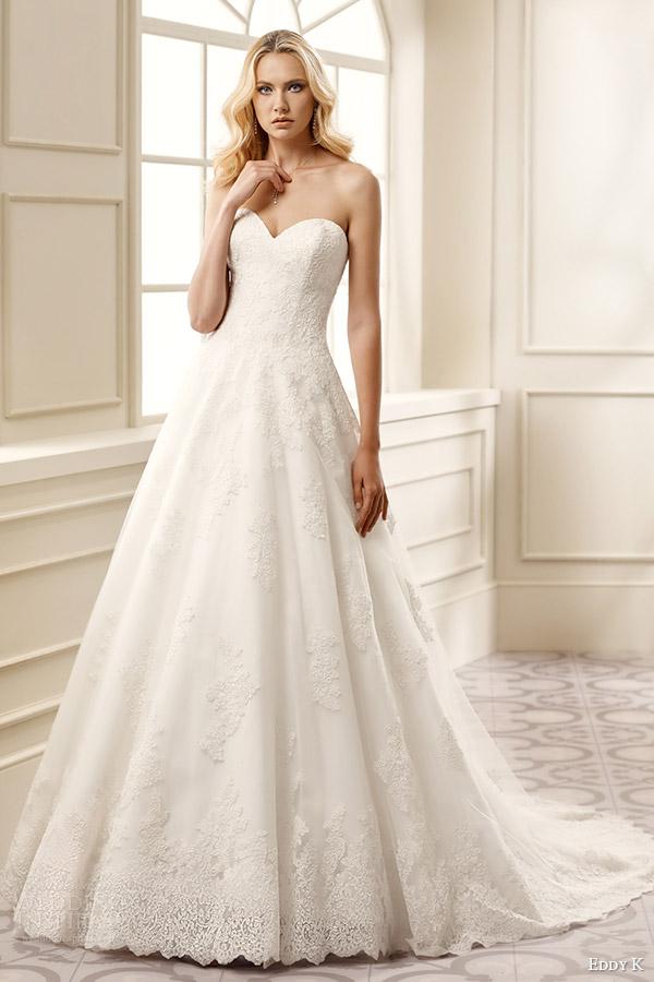 eddy k bridal 2016 strapless sweetheart a line wedding dress (ek1063) mv romantic classic
