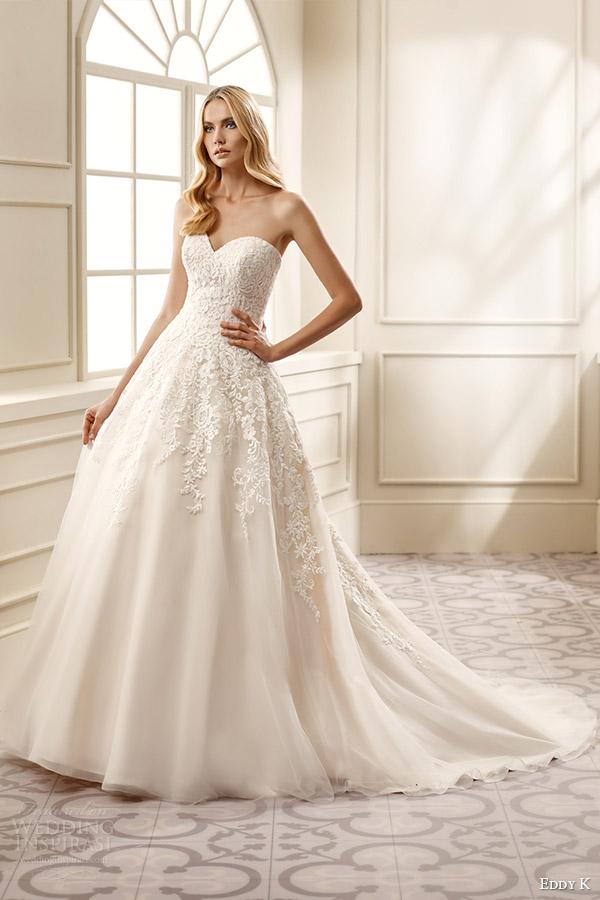 eddy k bridal 2016 strapless sweetheart surplice lace bodice a line wedding dress (ek1060) mv romantic classic