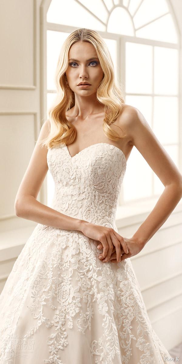 eddy k bridal 2016 strapless sweetheart surplice lace bodice a line wedding dress (ek1060) zv romantic classic