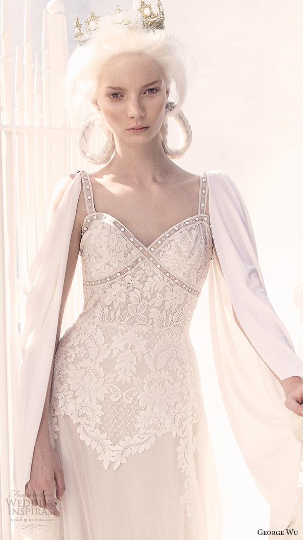 george wu 2016 bridal gowns cape long sleeves sweetheart neckline embellished bodice elegant sheath wedding dress (adesia) zv