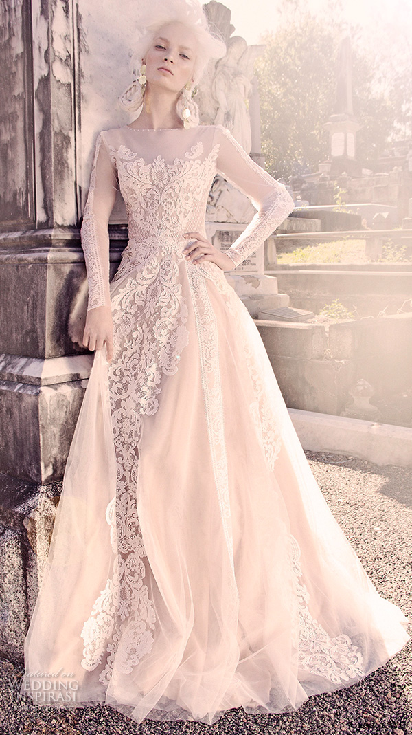 george wu 2016 bridal gowns long sleeves illusion jewel neckline fully embellished lace a line ball gown wedding dress (vulcan) mv