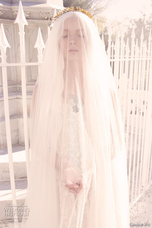 george wu 2016 bridal gowns scalloped v neckline lace bodice romantic wedding dress (ephraim) mv