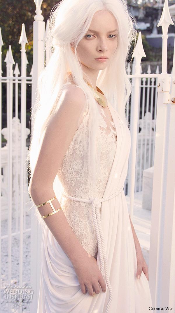 george wu 2016 bridal gowns sleeveless illusion jewel neckline lace bodice elegant grecian sheath wedding dress with drape sweep train (damis) zv