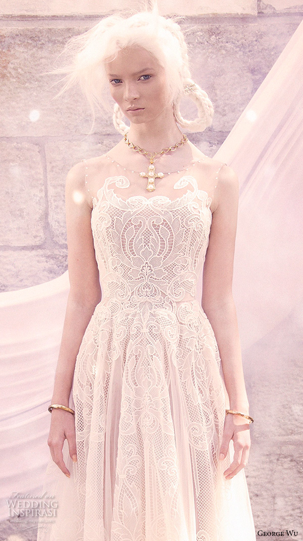 george wu 2016 bridal gowns sleeveless illusion jewel straight across neckline full embellished romantic lace a line wedding dress sweep train (azarias) zv